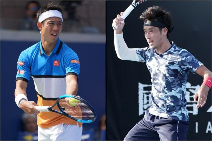 昨年の全米以来ツアーを離れている錦織圭(左)。ランクを上げた杉田祐一の全豪でのプレー(右)。写真:山崎賢人(THE DIGEST写真部)