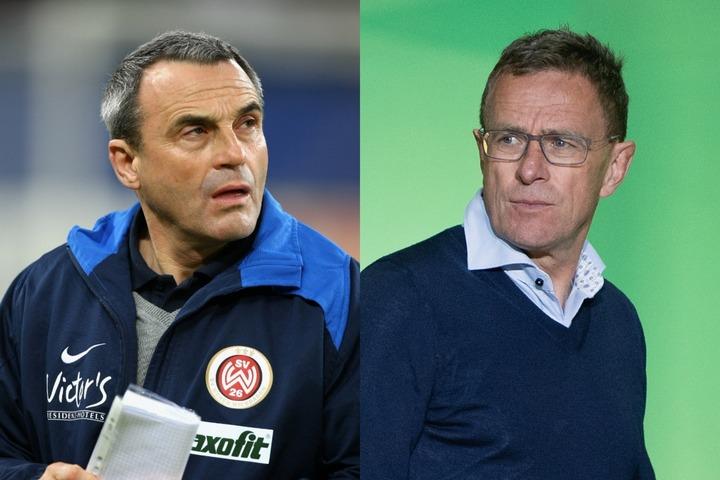 同じバーデン=ヴュルテンベルク州出身で、ともにマインツを指揮した経験を持つヴォルフガンク・フランク(左)、ラルフ・ラングニック(右)。(C)Getty Images