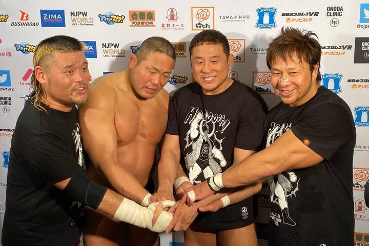 中西学の引退試合でタッグを組んだ天山広吉、永田裕志、小島聡。写真:どら増田