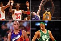 オラジュワン(上段左)やシャック(上段右)を筆頭に、1990~2000年代は多くの名選手が34番を着用した。(C)Getty Images
