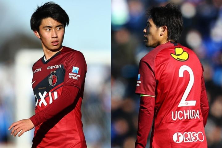 ルーキーイヤーに開幕戦出場という共通点を持つ荒木(左)と内田(右)。写真:サッカーダイジェスト写真部