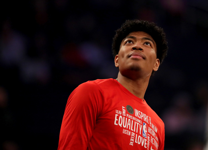NBAを代表してファンへのビデオメッセージを発信した八村。(C)Getty Images