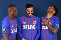FC東京のブラジル人3トップ、アダイウトン(左)、ディエゴ・オリヴェイラ(中央)、レアンドロ(右)。写真:徳原隆元