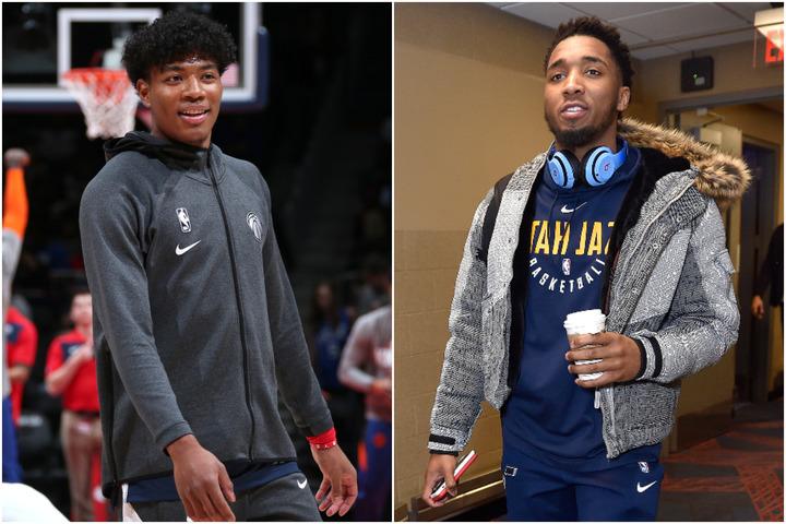 現役選手による『NBA 2K Players Tournament』1回戦でミッチェル(右)と激突した八村(左)。はたして結果は?(C)Getty Images