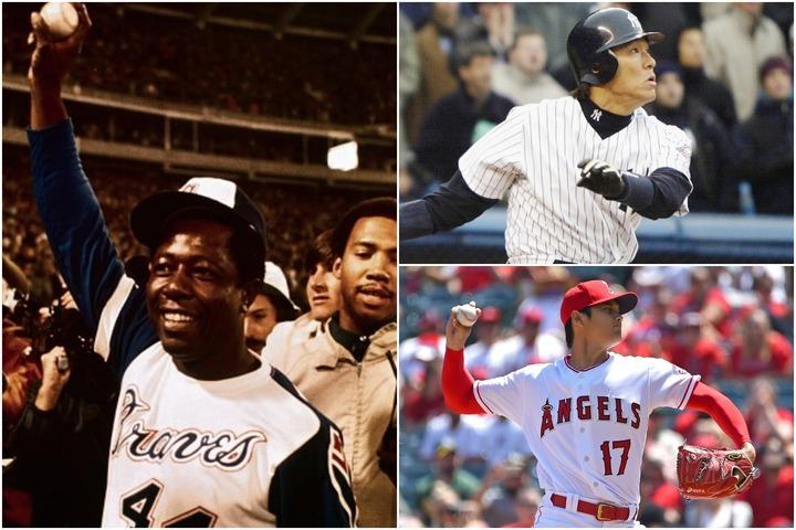 4月8日はアーロン(左)がルースの本塁打記録を抜いた日であると同時に、松井(右上)、大谷(右下)の日本人選手にとっても思い出深い一日だ。(C)Getty Images