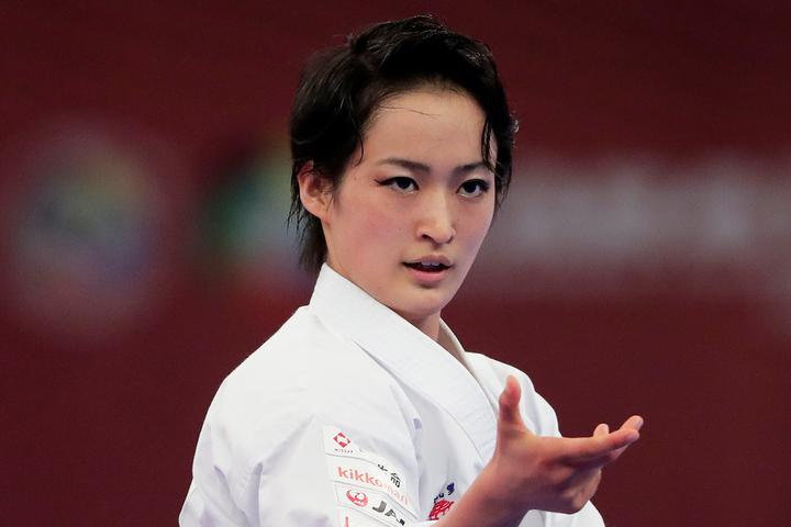 2014、16年には世界選手権優勝、日本選手権では13~19年まで7連覇と、圧倒的な実力で日本の空手界をけん引する女子形の清水。(C)Getty Images