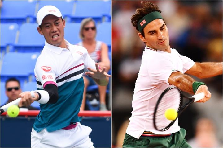 錦織圭(左)とフェデラー(右)がフォアハンドで共通して行なっていることがある。(C)Getty Images