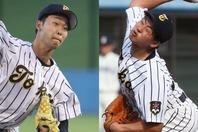 山崎(左)はキレのあるスライダーとストレートで三振を獲れる右腕。小郷(右)は「即戦力のリリーフ投手」とプロのスカウトたちが評価する逸材だ。写真:大友良行