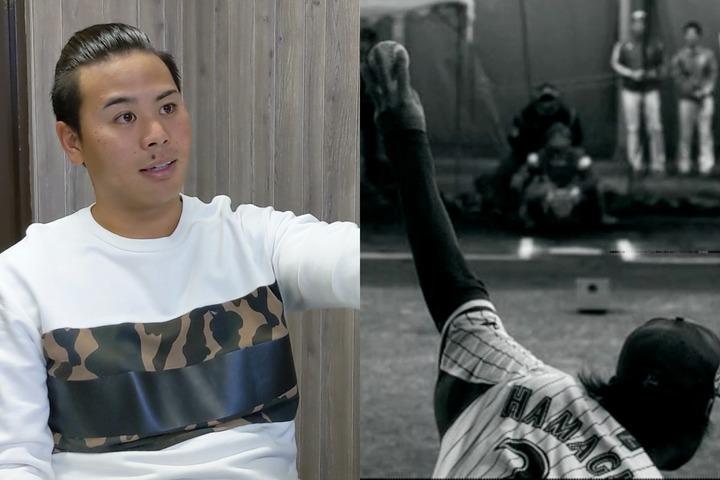 """動画は、1/1000秒のスーパースロー映像(右)を見ながら、濵口(左)本人が""""お化けチェンジ""""の極意を解説。写真提供:横浜DeNAベイスターズ"""