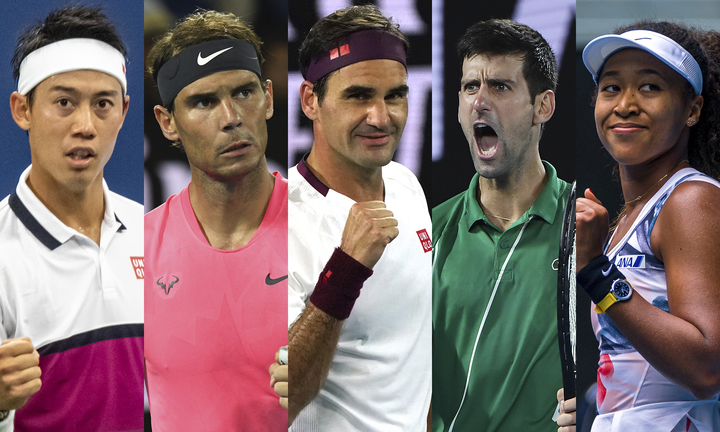 5月2日、WOWOWがテニスの名場面等を振り返る特番を無料で放送する。写真:錦織圭/アフロ、フェデラー/AP/アフロ、ナダル、ジョコビッチ、大坂なおみ/Getty Images