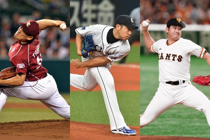 田中(左)や菊池(中)ら並み居るメジャーリーガーを抑え、印象的な活躍も多かった菅野(右)が1位を獲得した。写真:金子拓弥、川本学、朝日新聞社