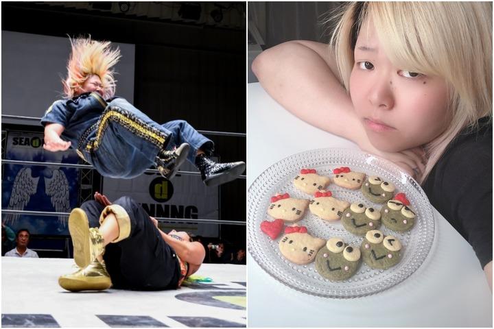 ダイビングセントーン(写真左)を得意技とする世志琥が、キャラクターのお菓子作りをSNSで披露し(右)、話題となっている。写真:SEAdLINNNG/世志琥