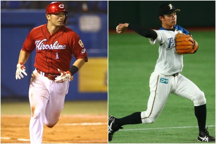 鈴木(左)は二松学舎では投手も務めていた。中島(右)は15年に盗塁王に輝くなどプロ入り後に大成した。写真:田中研治、徳原隆元