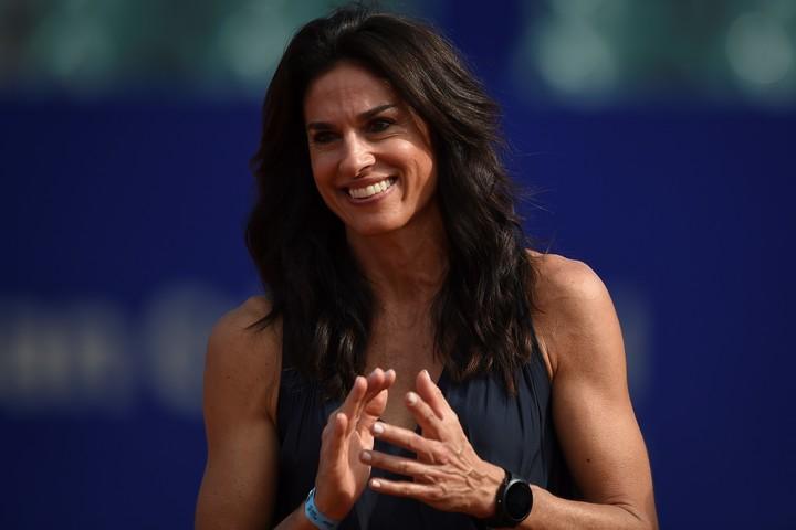 今年のアルゼンチンオープンの表彰式に登場したサバチーニ。(C)Getty Images