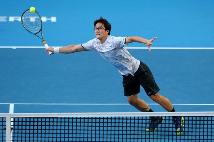 今年のATPカップでは日本代表としてダブルスに出場した松井俊英。(C)Getty Images