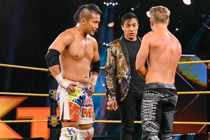勝敗が並び、KUSHIDAは三つ巴戦を戦うことになった。(C)2020 WWE,Inc. All Rights Reserved.