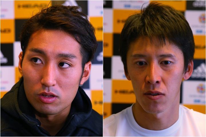 アドバイスしてくれた内山靖崇(左)と吉備雄也(右)。写真:THE DIGEST写真部