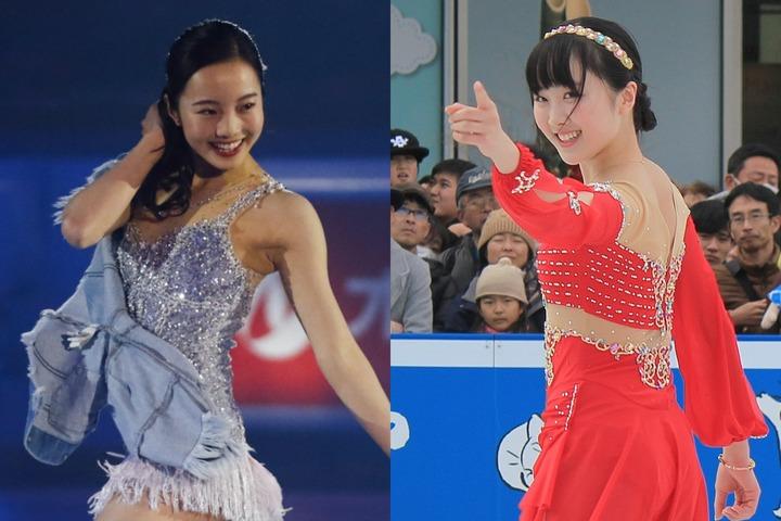 本田望結(右)が、昨年撮影されたという姉・真凜(左)との2ショットを公開し、ファンを喜ばせた。(C)Getty Images、写真:産経新聞社