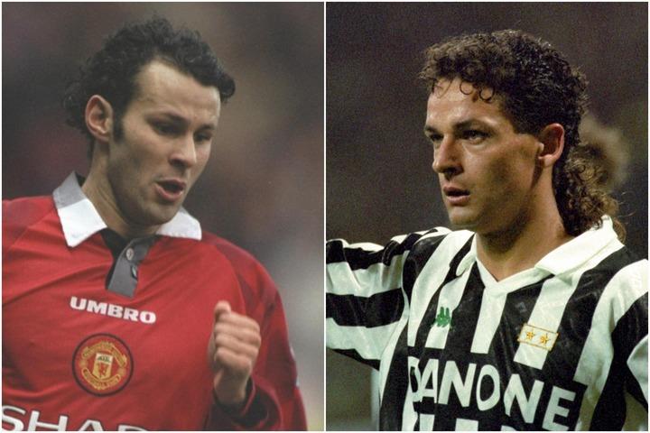 90年代に活躍した、バッジョ(右)とギグス(左)。(C)Getty Images