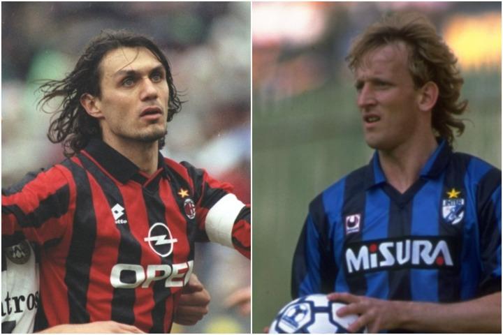 90年代は攻守にバランスの取れたマルディーニ(左)やブレーメ(右)が活躍した。(C)Getty Images