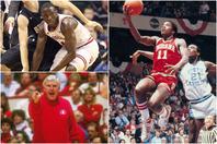 名将ナイト(左下)の下、何度も全米制覇を成し遂げてきたインディアナ大。トーマス(右)、オラディポ(左上)ら好選手も輩出したが、近年は低空飛行が続いている。(C)Getty Images