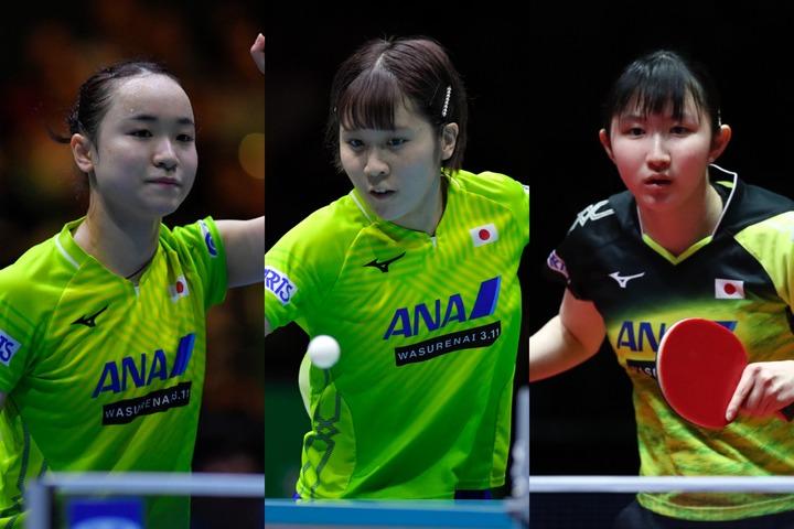 日本女子卓球界をリードする伊藤、平野、早田の3人がチャリティオークションに参加。それぞれが自作のトートバッグを出品する。(C)Getty Images