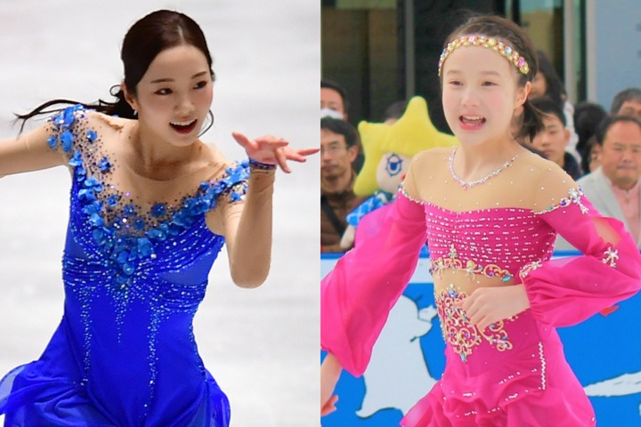 SNS投稿でも高い人気を誇る本田姉妹。今回は末っ子・紗来(右)が次女・真凜(左)との2ショットを公開した。(C)Getty Images