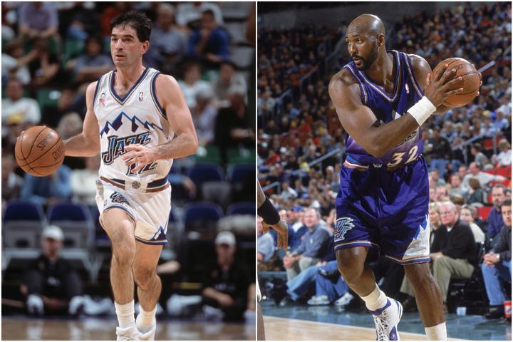 ストックトン(左)とマローン(右)。NBAのみならず、あらゆるプロスポーツを見渡しても彼らほど結果を出し続けたデュオは存在しない。(C)Getty Images