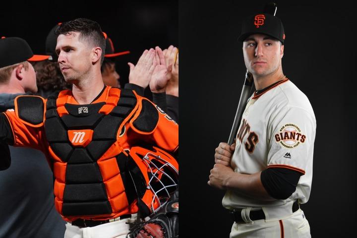 ポージー(左)の後継者には球団トップの有望株バート(右)がいる。にもかかわらず、今年のドラフトでまたも捕手を指名したジャイアンツの思惑とは? 写真:Getty Images