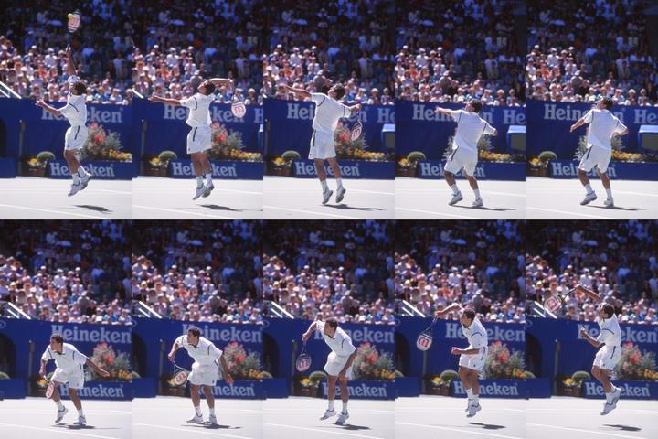 真上にジャンプして、豪快に叩きつけるサンプラスのダンクスマッシュ。彼をマネして多くの選手が取り入れるようになった。写真:スマッシュ写真部