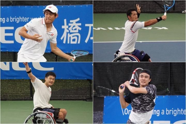 ニューミックスダブルスに出場した4選手(左上:西岡、左下:国枝、右上:荒井、右下:ダニエル)。写真提供:チャレンジテニス
