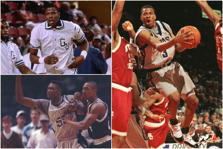 ユーイング(左上)、ムトンボ(左下)ら優秀なセンターを多く輩出。しかし唯一NBAでMVPに輝いたのはアイバーソン(右)だった。(C)Getty Images