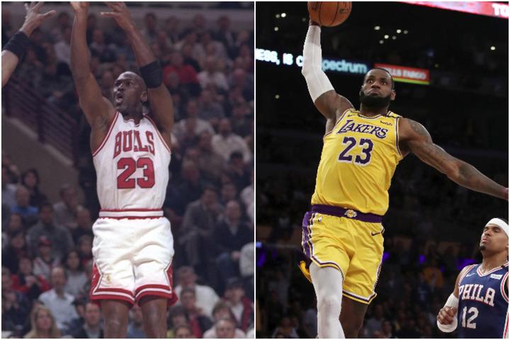 """もし今季レブロン(右)がリーグ制覇を果たせば、ジョーダン(左)との""""G.O.A.T""""論争に再び火がつくだろう。(C)Getty Images"""