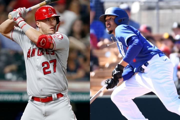 MLBを代表する5ツール・プレイヤーのトラウト(左)とベッツ(右)。トラウトは14、16、19年に、ベッツは18年にMVPを獲得している。(C)Getty Images