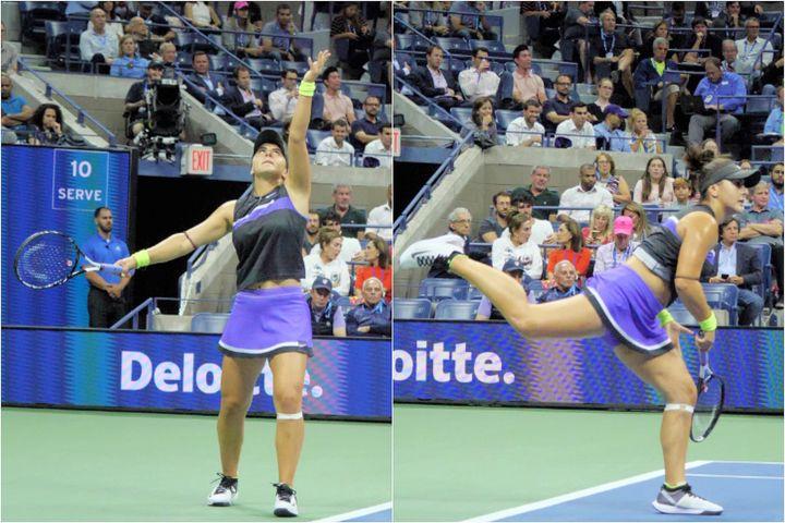 優れたフィジカルに加えて巧みな身体の使い方によって、女子テニス界屈指とも言われるアンドレスクの強打が生まれていた。写真:山崎賢人(THE DIGEST編集部)