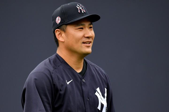 キャンプ初日に強烈な打球が直撃するアクシデントに見舞われた田中が、元気な姿を見せた。(C)Getty Images