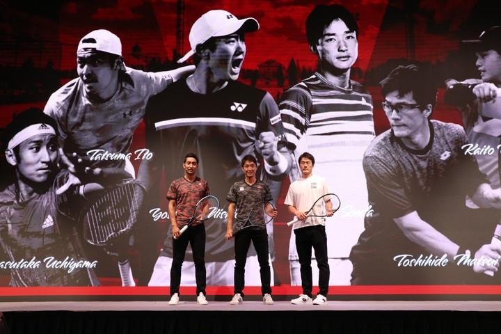 記者会見に登場した内山靖崇、添田豪、松井俊英(左から)。写真:スマッシュ編集部