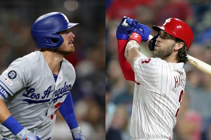 涼やかなイケメンのベリンジャー(左)と、ワイルドなハーパー(右)。一見対照的な2人の共通点がフルスウィングだ。写真:Getty Images