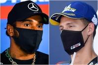 F1、MotoGPで優勝したハミルトン(左)とクアルタラロ(右)。レース会場ではマスクでコロナ対策も万全だ。(C)Getty Images