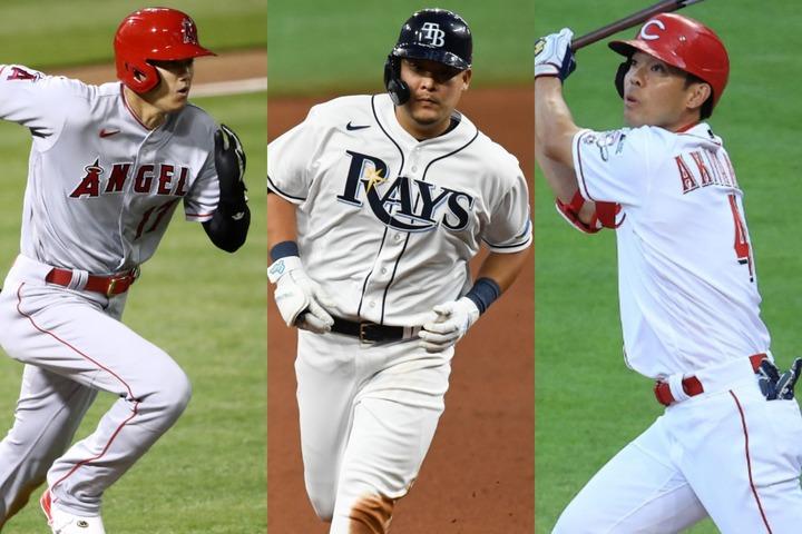 大谷(左)、筒香(中央)、秋山(右)の日本人野手勢がいずれも安打を放つ上々の滑り出し。特に筒香はデビュー戦で見事初本塁打を放った。(C)Getty Images