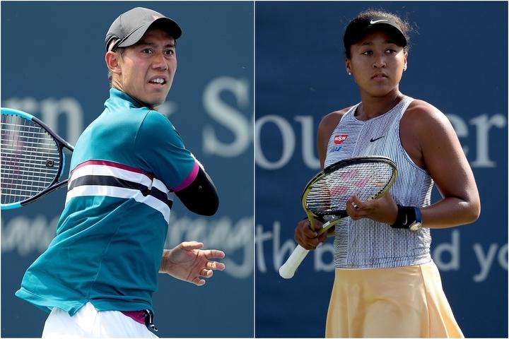 昨年のウェスタン&サザン・オープンで戦う錦織圭(左)と大坂なおみ(右)。(C)GettyImages