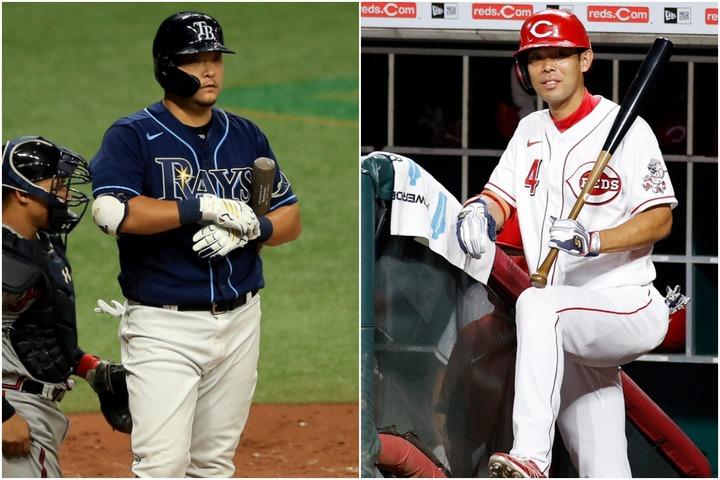 開幕10試合でまだ結果が出ていない筒香(左)と秋山(右)だが、データをよく見ると内実はかなり違う。(C)Getty Images
