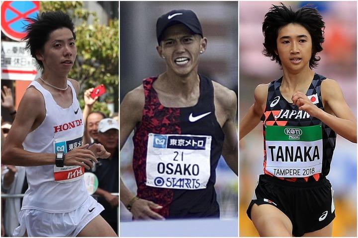 日本記録を樹立したきた選手たち。左から設楽悠太、大迫傑、田中希実。(C)Getty Images