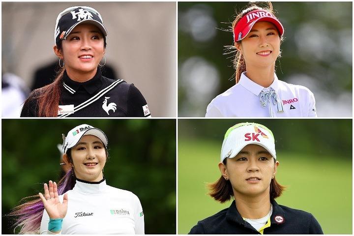 左上から時計回りにイ・ボミ、キム・ハヌル、チェ・ナヨン、ペ・ソンウ。韓国女子ゴルフ界のオールスターマッチの幕が上がる。(C)Getty Images