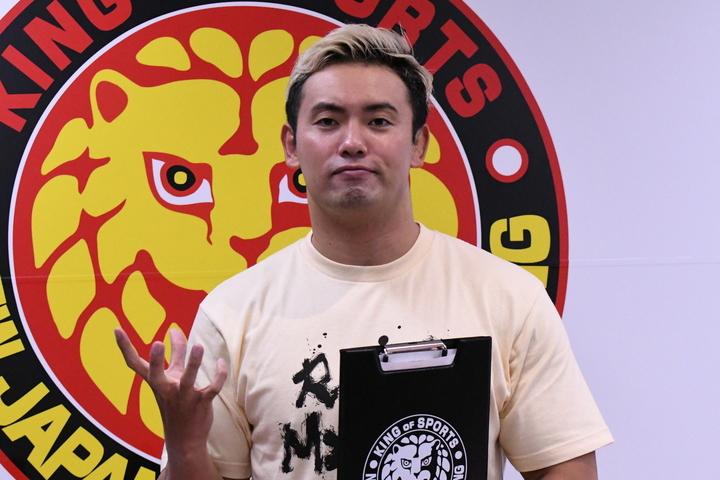「今までにない闘いを」と、ルール投票を呼び掛けた、オカダ・カズチカ。(C)新日本プロレス