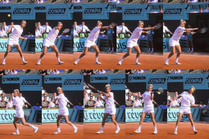 後ろにのけぞりながらラケットを振り上げ、ヘビースピンをかけたムスター。一方で攻撃への切り替えも鋭く、男子テニスの頂点に上り詰めた。写真:スマッシュ写真部