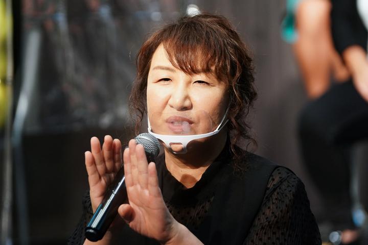 女子プロレスの新しい共闘組織「ASSEMBLE」についての説明を行なった北斗晶。写真:山崎賢人(THE DIGEST写真部)