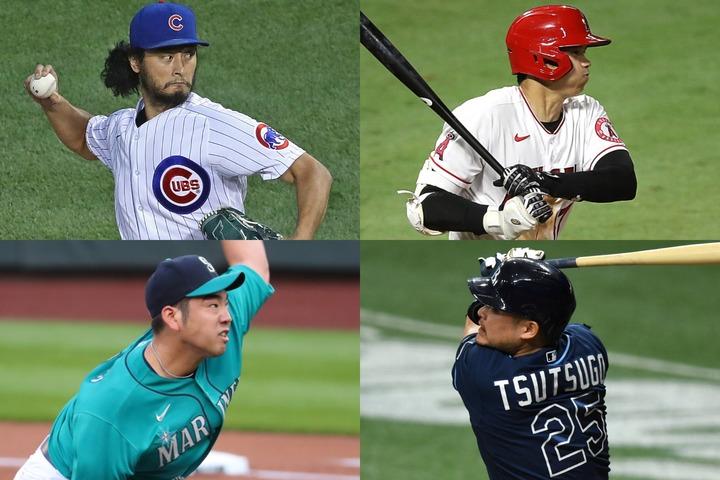 ダルビッシュ(左上)の7連勝に大谷(右上)のサヨナラ打、筒香(右下)の6号アーチと日本人選手が大活躍。菊池(左下)の好投も光った。(C)Getty Images