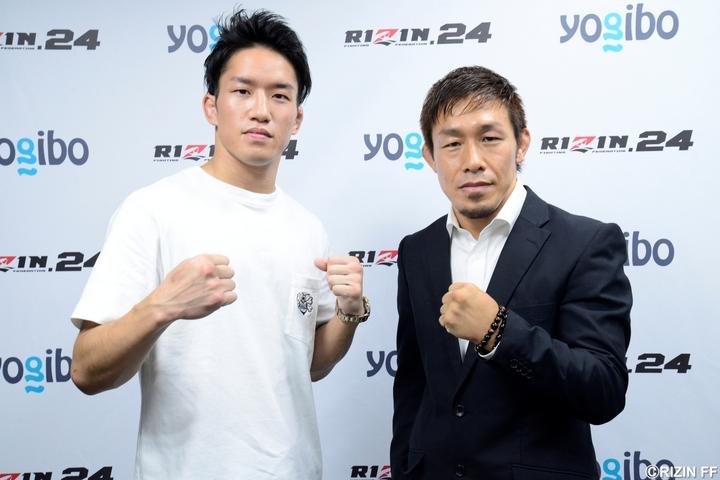 朝倉海(左)が9月27日開催のRIZIN.24への参戦を決意。元パンクラス王者の昇侍と対戦する。(C)RIZIN FF