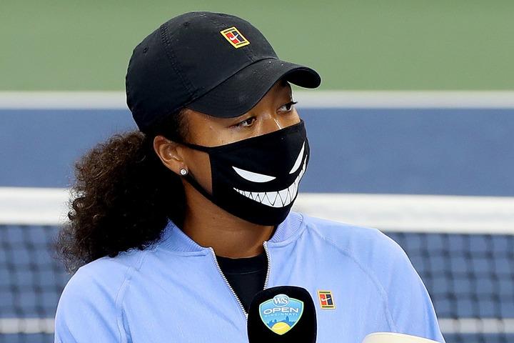 販売より一足先に、全米OP前哨戦でマスクをお披露目していた大坂。(C)Getty Images